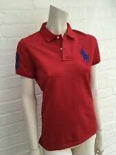 02cda7bb4394 Ralph Lauren Femme Blue Label Big Pony Rouge Polo Shirt Top T Shirt Taille  L Lar.