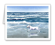 "Bull Terrier Set of 10 ""Bull Terrier at the Beach"" Note Cards With Envelopes"