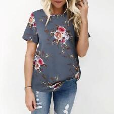 estate donna floreale maglia maglia donna t-shirt manica corta taglie forti 6-20