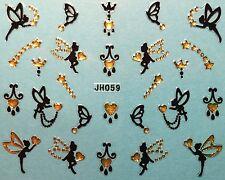 Nail Art 3D Decal Stickers Butterfly Fairy Butterflies Fairies Hearts JH059