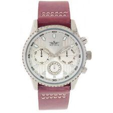 Men's Silver Tan PU Leather Strap Decorative Day/Date Dial Watch Analog Quartz