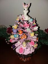 Vintage Easter Pine Cone Pink Wood Decor Flowers Eggs Butterflies Carrots