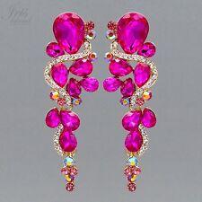18K Gold Plated Fuchsia Crystal Rhinestone Wedding Drop Dangle Earrings 586 Prom
