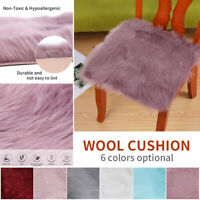 Fluffy Anti-Skid Square Rugs Bedroom Shaggy Rug Chair Floor Mat Home Carpet WANG