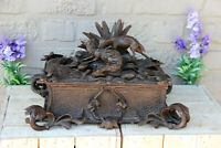 Antique Swiss XL black forest wood carved hunt dog fox Scene Box rare