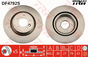 TRW Brake Rotor Front DF4792S fits Land Rover Discovery 3.0 4x4 (LA) Series 4...