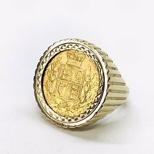 Heavy 9ct Gold 1843 Shieldback Full Sovereign Ring - UK Size S - UK Hallmarks