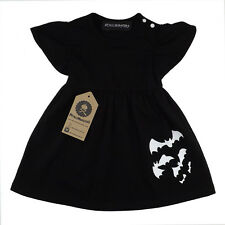 Metallimonsters Black Bats Baby Dress Sleeves Alternative Goth Punk Rock Metal 3-6-months