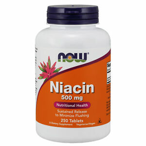Slow Timed Release Niacin 500mg 250 Tablets Vitamin B3 Energy Cardiovascular