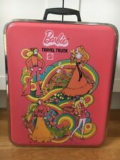 1972 Vintage Barbie Travel Trunk Pink Plastic Metal Rim Mattel