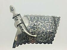 More details for 875/1000 antique russian silver niello decorative belt buckle dagger chain 24.8g