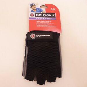 Schwinn Adult Small / Medium Half-Finger Black Mesh Back Bicycle Cycling Gloves