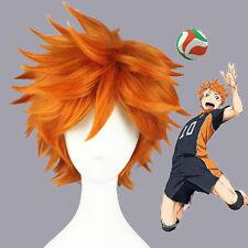 Haikyuu!! Hinata Syouyou Short Curly Cosplay Wigs Anime Wig Orange Universal