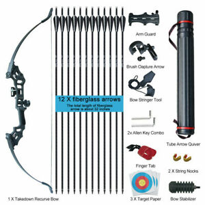 30-50lbs Archery Hunting Takedown Recurve Bow Arrows Set Outdoor Shooting Target