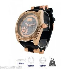 ICE MASTER ROSE GOLD WITH CRYSTALS,BLING,OVERSIZE BLACK RUBBER MEN'S WATCH