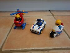 Playmobil 123 fire helicopter police car and bike bundle 3 figures alert sign