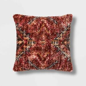Wool/Viscose Vintage Square Pillow - Threshold 18X18X6 Red