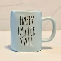 Rae Dunn Blue HAPPY EASTER Y'ALL Mug Ceramic with Large Letters.