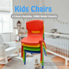 5x New Kids Toddler Plastic Chair Yellow Blue Red Green 100KG Capacity