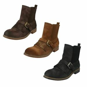 Ladies Down To Earth Fringe Chelsea Ankle Boots UK Sizes 3 - 8 : F50568