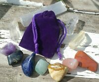7pc Chakra Alignment Tumble Crystal Set Selenite Charging Stick Purple Velvet