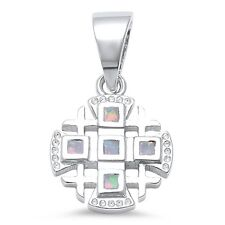 White Opal Iron Cross .925 Sterling Silver Pendant