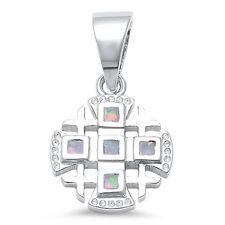 White Opal Iron Cross .925 Sterling Silver Pendant