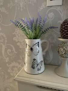 Artificial Lavender White Botanical Butterflies Chunky Rustic Jug Shabby Chic