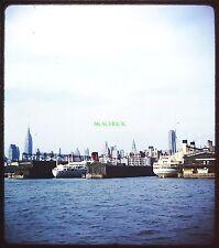 Original 3D Stereo Slide NYC SKYLINE STEAMSHIP DOCKS 1950s Kodachrome