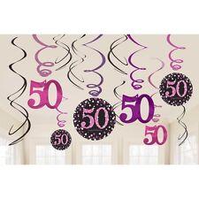 12 X 50TH BIRTHDAY PARTY HANGING SWIRLS PINK BLACK CELEBRATION DECORATION AGE 50