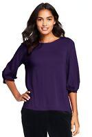 Lands'End Women's Twist Sleeve Top BlackBerry Size S item #492975 J