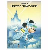 Tokyo Disneyland Vintage Unused Postcard Happy New Year 1990 Mickey in Space