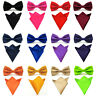 Men Smooth Solid Satin Bowtie Bow Tie Match Handkerchief Pocket Square Hanky Set