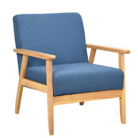 Modern Fabric Upholstered Accent Chair Low Lounge Armchair Solid Wood Frame Blue