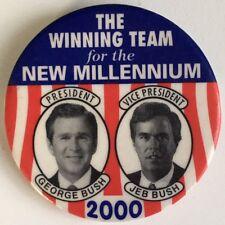 GEORGE W. BUSH +  JEB BUSH Jugate Pin Button 2000 Campaign