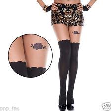 Fake Illusion Thigh Highs Hi Stockings Rhinestone Rose Pattern Pantyhose Tights