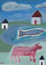 Red Dog and Fish with Houses Painting Outsider Modern Folk Art Original SFStudio