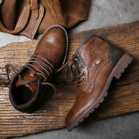 Men's Work Boot Leather Combat Lace Up Military Army Biker Ankle Mid Boots Shoes