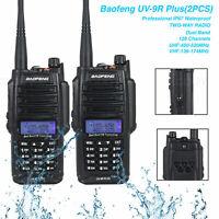 2X Baofeng UV-9R Plus VHF/UHF Dual-Band FM Walkie Talkie Two-way Radio IP67