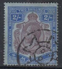 MALTA-1914 2/- Purple & Bright Blue/Blue Sg 86 GOOD USED