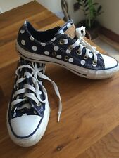 Converse All Star Women's Navy polka trainers at size UK3 EUR35.VGC