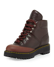 PRADA BROWN LACE UP LEATHER WEDGE HIKING BOOTS  SHOES 40, 10 US
