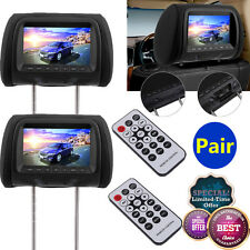 "2x 7"" twin car headrest dvd player pillow HD touch screen monitor mp5 black New"