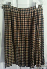 Pendleton Vintage Women Size 10 Virgin Wool Blue Brown Tan Checkered Plaid Skirt