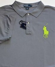 New $125 Polo Ralph Lauren Gray Big Pony Cotton Mesh Polo / Big 5X