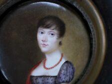 École française XIXPeinture Miniature-émail-cuivre/Portrait femme-Empire-enamel