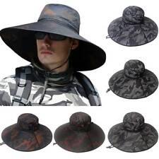 Camo Mens Bucket Sun Hat Cool Summer Wide Brim Hiking Fishing Camping Boonie Cap