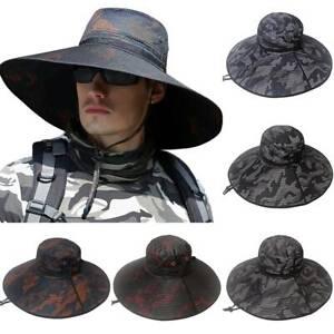 Mens Camo Army Large Wide Brim Bonnie Bucket Travel Hiking Fisherman Cap Sun Hat