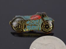 Vintage Enamel Pin Button Lapel Pin Car Automobile Blue and Red Motorcycle