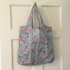 NWT Cath Kidston London Foldaway Shopping Bag Blossom Birds Blue & Pouch